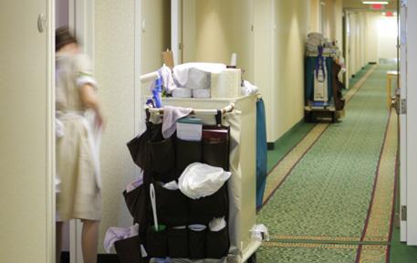 housekeeper in corridor